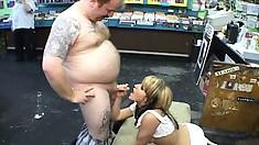 Adorable blonde with big boobs Tyla Wynn has her lips pleasing a few big cocks