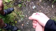 2 Guys Wanking Down The Woods