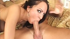 Stunning brunette begs her two lovers to spit roast her hard