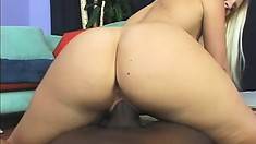 Gorgeously thick blonde hussy with massive tits gets a dicking