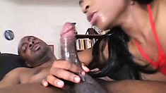 Fantastic ebony Kandi takes in a cock through a hole in her body stockings