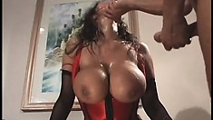 Ava Devine wears a tight red harness and takes it balls deep