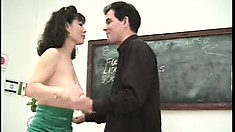 Lustful Asian milf has a white guy pounding her tight holes all over his desk