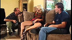 Slutty blonde tart with a fantastic ass gets a tough double dicking