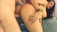 The lustful cougar's huge boobs shake and jiggle as her pussy gets pounded hard