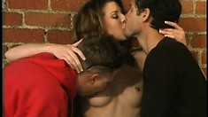 Lisa Marie gets a double dicking in the middle of a warehouse