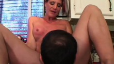 Lusty MILF talks a hung young stud into filling her wet cunt