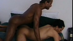 Muscled ebony dude takes some hot sucking before he nails that ass