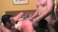 Horny studs with massive cocks pump each other down to the balls