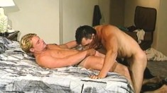 Gay studs get together in a hotel room and satisfy their sexual needs