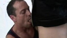 Horny gay stud bends over and gets his ass fucked hard from behind