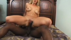 Busty blonde Milf gets a black dick to suck and hammer her butthole