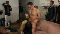 Velvet Rose in a foursome with a crowd enjoying pussy and cock action