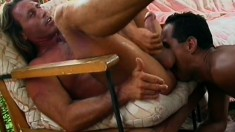 Horny ethnic guy gets his butt hole fucked deep by a hung white stud